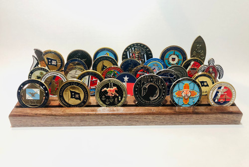 Pin-iT Challenge Coin Display Walnut