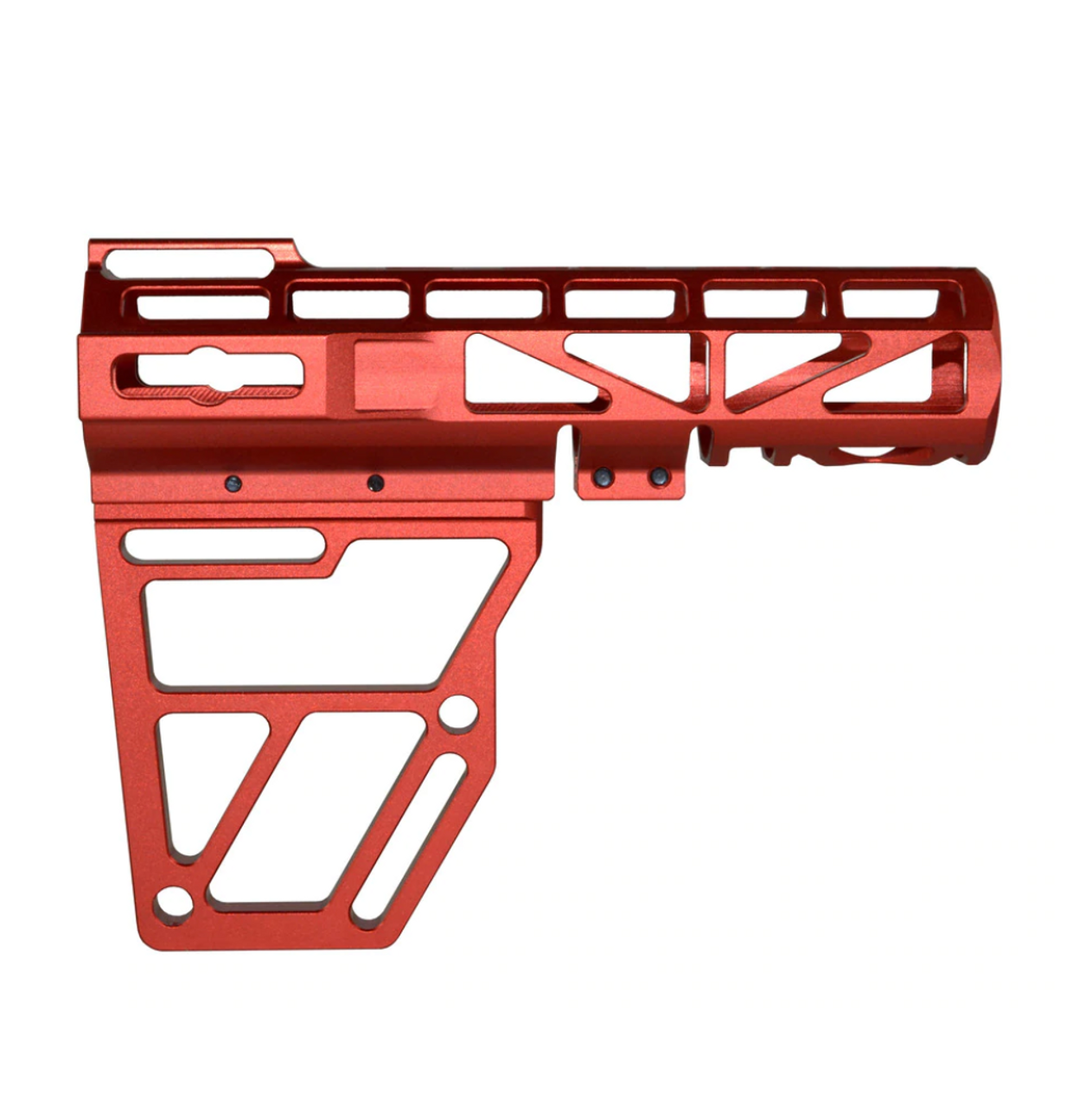 Skeletonized Pistol Arm Brace, Red Anodized Aluminum.