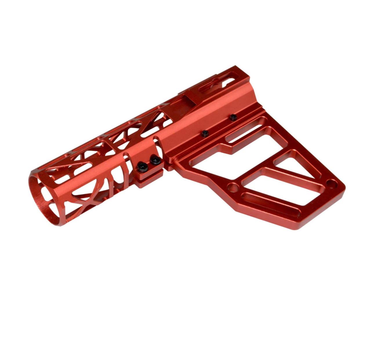 Skeletonized Pistol Brace Stabilizer, Red Anodized Aluminum
