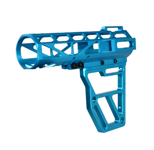 Skeletonized Pistol Brace Stabilizer, Blue Anodized Aluminum