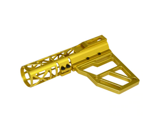 Skeletonized Pistol Brace Stabilizer, Gold Anodized Aluminum
