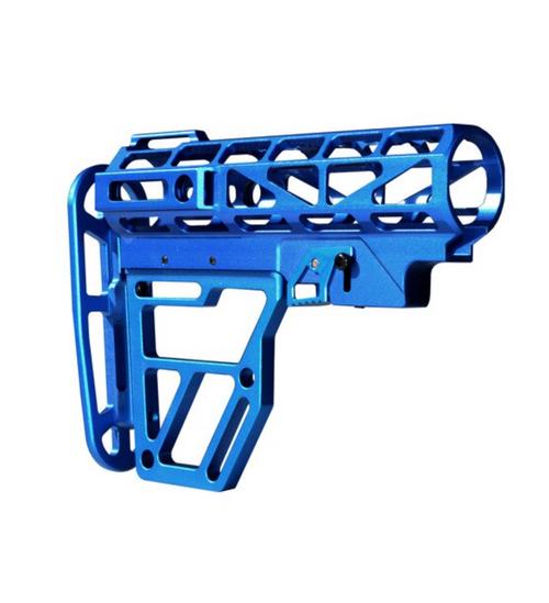 Skeletonized AR Mil Spec Buttstock, Dark Blue Anodized Aluminum
