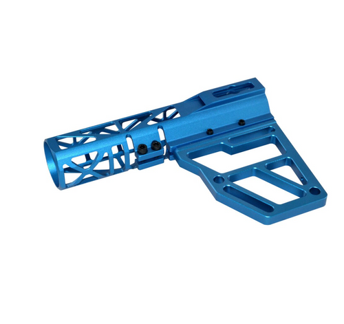 Skeletonized Pistol Brace Stabilizer, Dark Blue Anodized Aluminum