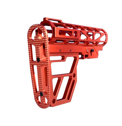 Skeletonized AR Mil Spec Buttstock Red Anodized Aluminum