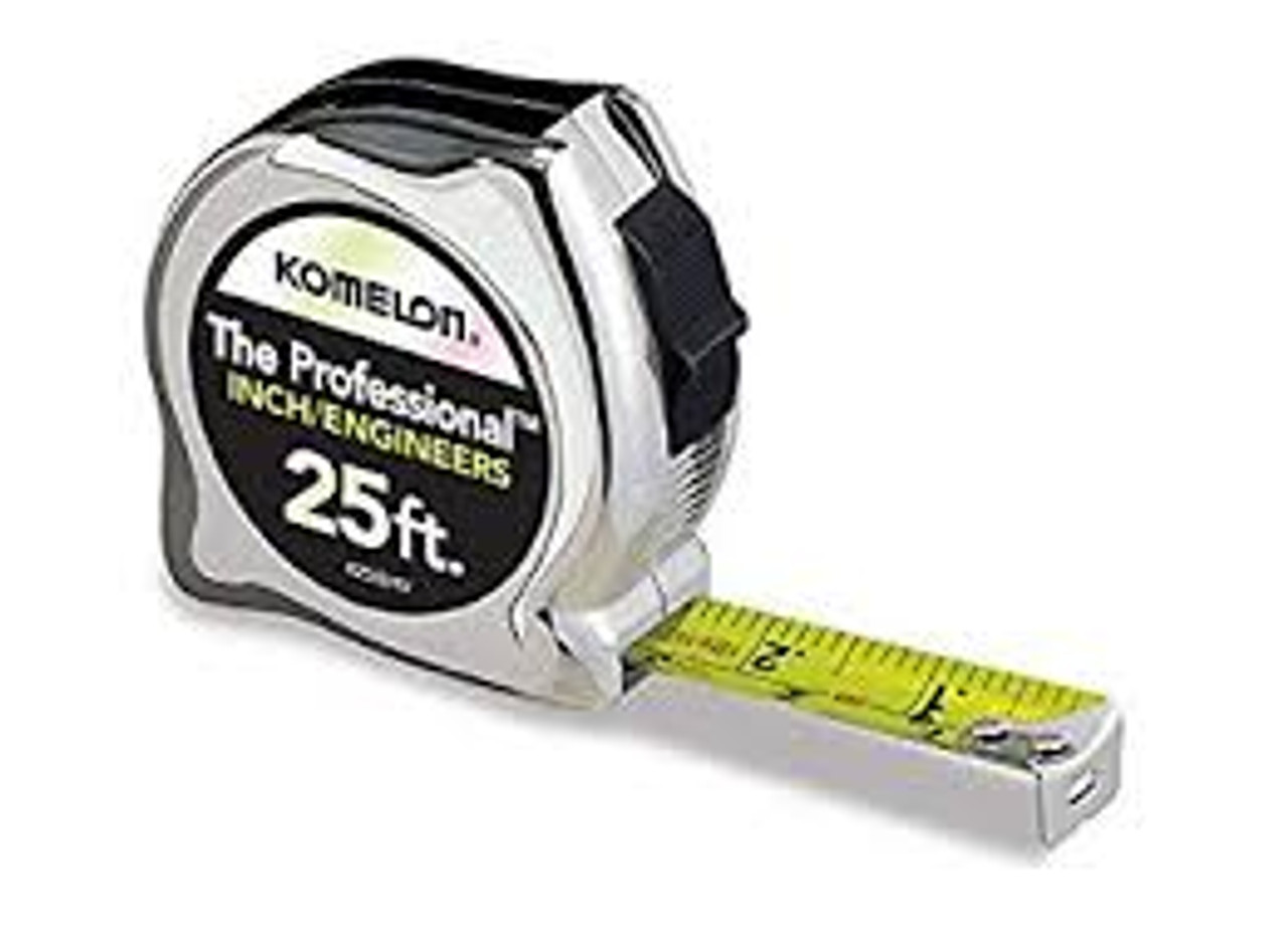 25' CHROME PROFESSIONAL METRIC TAPE MEASURE - INCH AND ENGINEERS