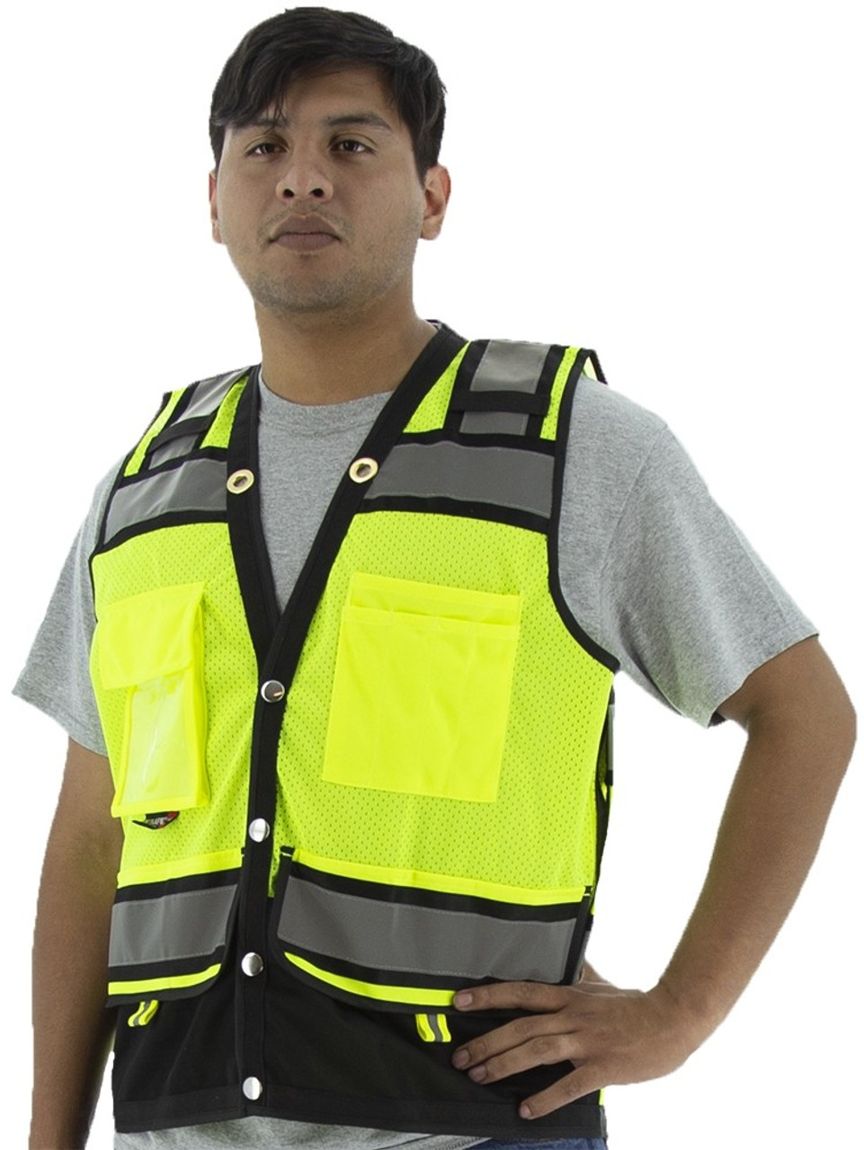 HIGH VISIBILITY SURVEYORS VEST.  HEAVY DUTY CONTRASTING STRIPES. YELLOW.