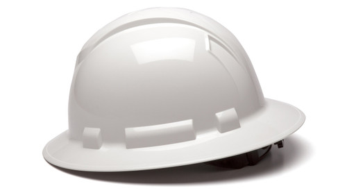 WHITE RIDGELINE FULL BRIM HARD HAT, 4-POINT SUSPENSION
