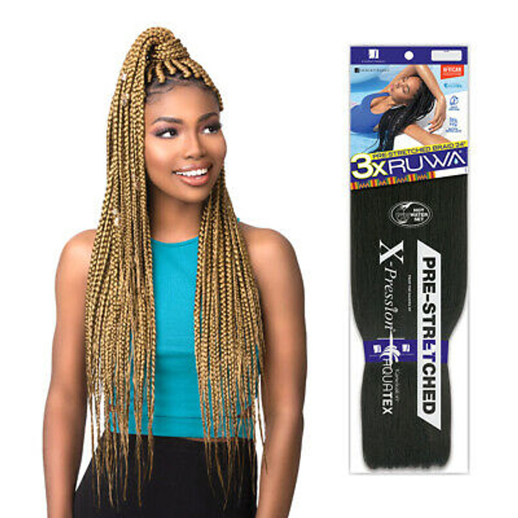 "3X Ruwa Pre-Stretched Braiding Hair  24"""