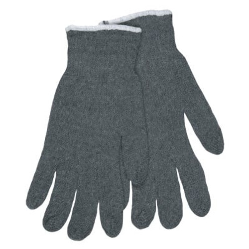 Multipurpose String Knit Gloves, Cotton/Polyester, Large, Gray/White