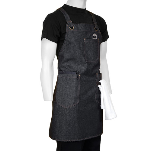 ChefsCloset Denim Allentown Cross Back Bib Apron  3 Pockets