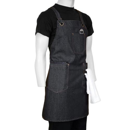 ChefsCloset Denim Allentown Cross Back Bib Apron  3 Pockets