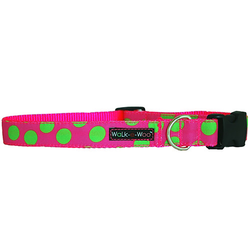 Walk-E-Woo Neon Green Dots on Pink