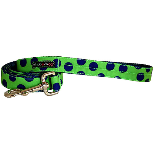 Walk-E-Woo Neon Blue Dots on Green Lead