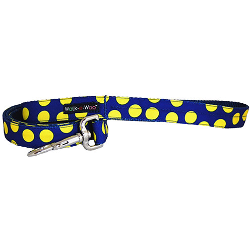 Walk-E-Woo Neon Yellow Dots on Blue Lead