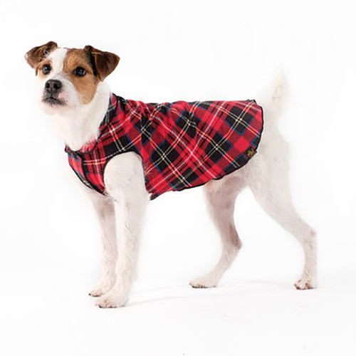 Gold Paw Series Stretch Fleece - Red Tartan