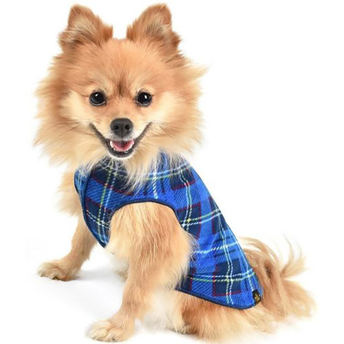 Gold Paw Series Stretch Fleece - Blue Plaid