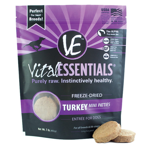 Vital Essentials Freeze-Dried Mini Patties Turkey