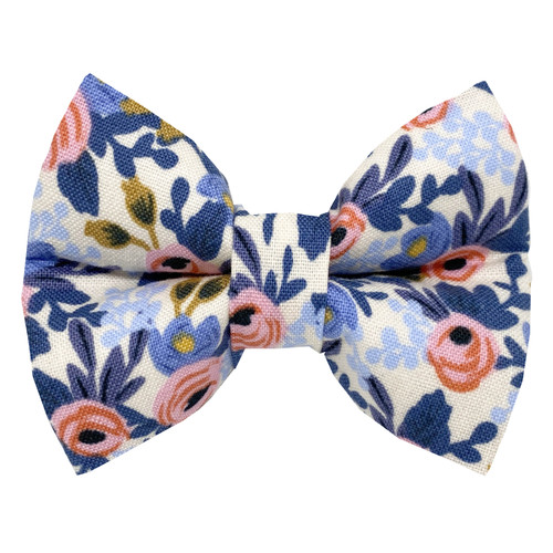 Periwinkle Flowers Dog Bow Tie