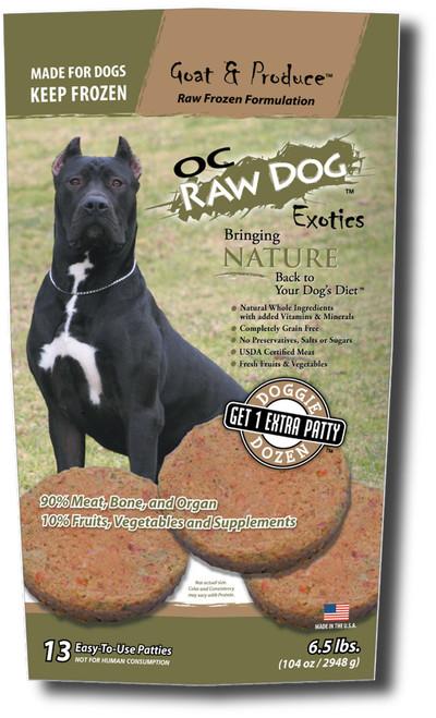 OC Raw Frozen Dog Food 6.5 lb Goat & Produce Patties
