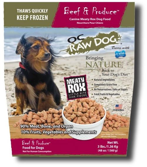 OC Raw Dog Food Meaty Rox Beef 3 lb