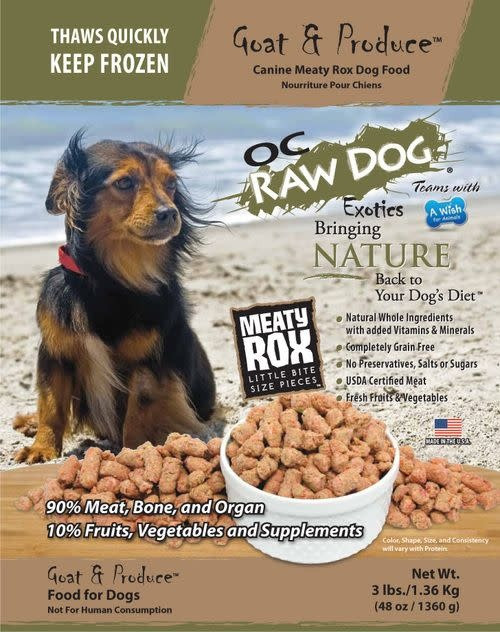 OC Raw Dog Food Meaty Rox Goat & Produce