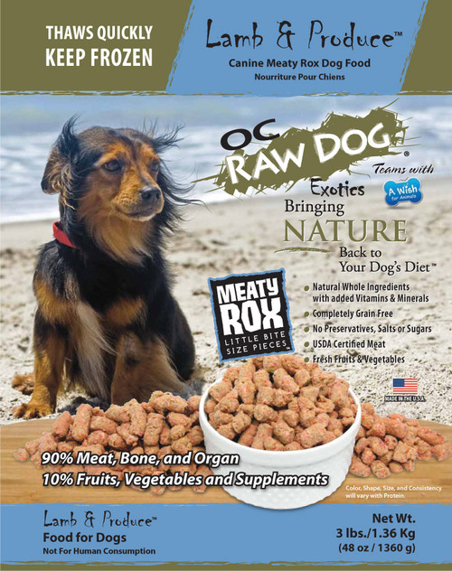 OC Raw Dog Food Meaty Rox Lamb & Produce