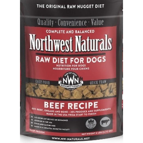 NWN Frozen Raw Dog Food Beef 6 lb Nuggets