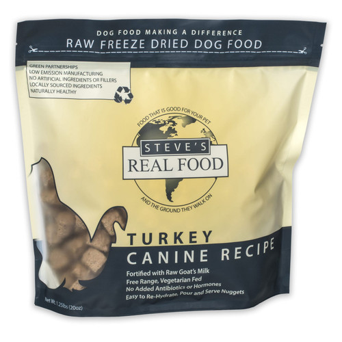 Steve's Real Food Freeze Dried Turkey Nuggets for Dogs 1.25 lbs