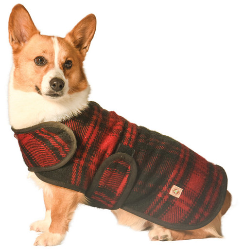 Red and Black Plaid Blanket Dog Coat