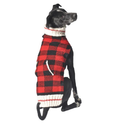 Buffalo Plaid Hand Knit Wool Dog Sweater