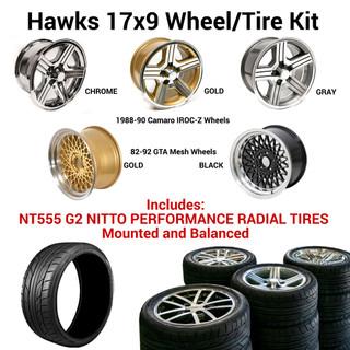 Hawks 17 x 9 GTA / IROC-Z Wheel Kit w/NT555 Tires, Mounted and Balanced