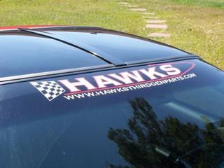 Banner, Hawks Third Generation Windshield Banner, White