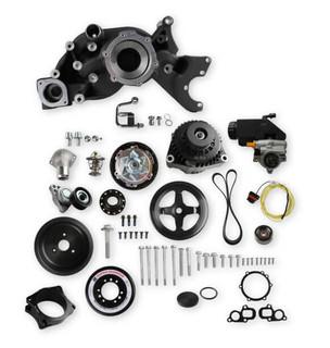 GEN V LT Premium mid mount Race accessory system includes Alternator, P/S Pump, Tensioner, SFI certified damper w/hard anodized billet crank pulley, Belt, & Pulleys, Holley