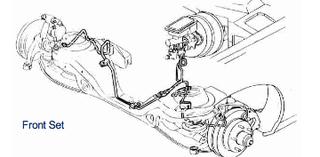 84-92 Camaro / Firebird, Power Disc Front Brake Line Set, 4 piece