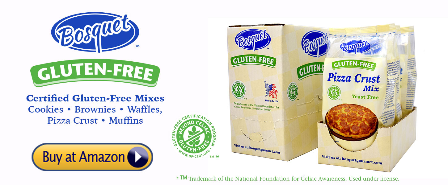 Buy Bosquet Gluten-Free Mixes at Amazon Cookies, Brownies, Waffles Pizza Crust and Muffins. Certified Gluten-Free