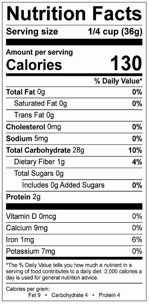Gluten-free baking mix nutrition