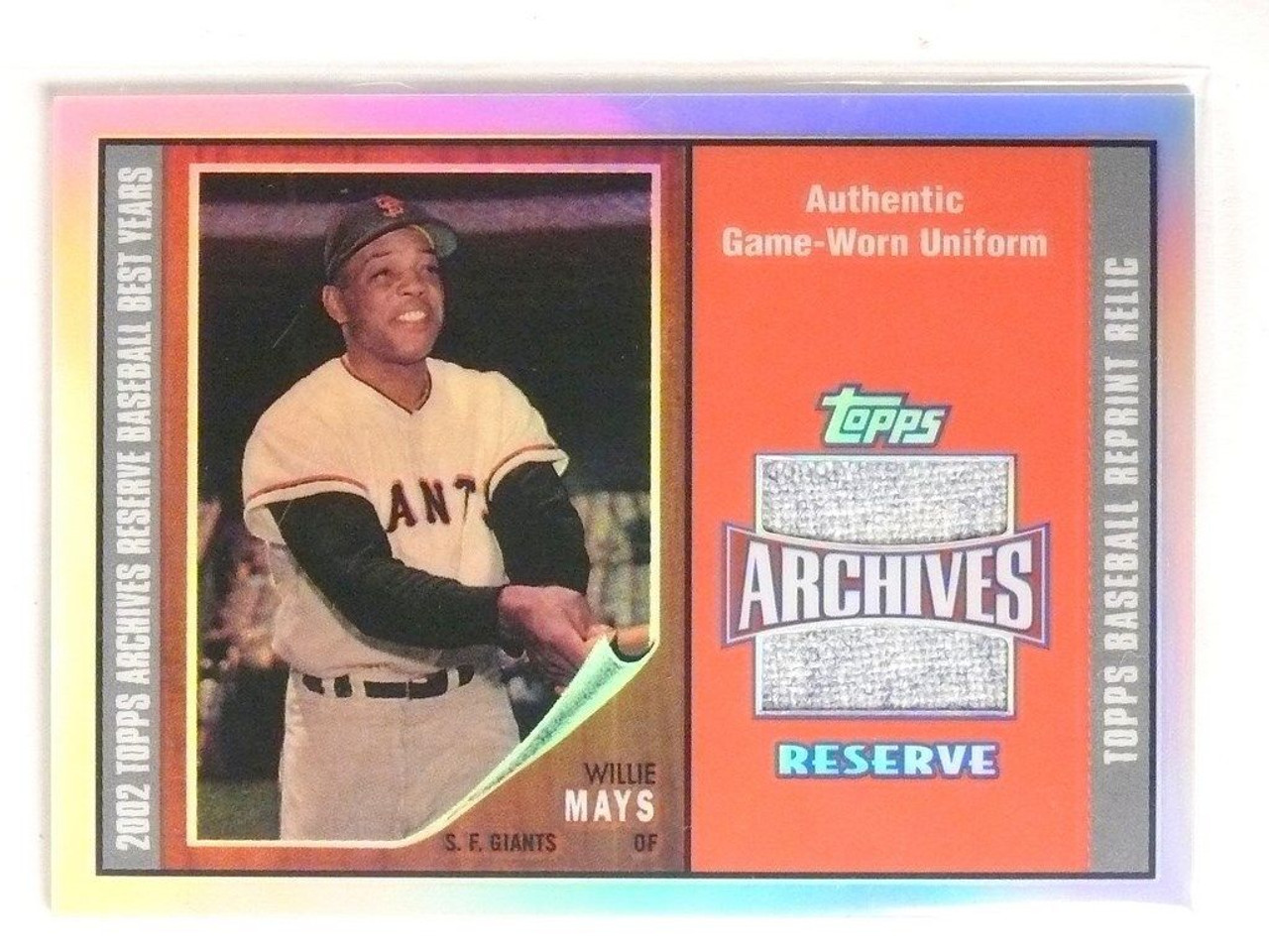 Sold 2800 2002 Topps Archives Reserve Willie Mays Jersey Trr Wm 55225