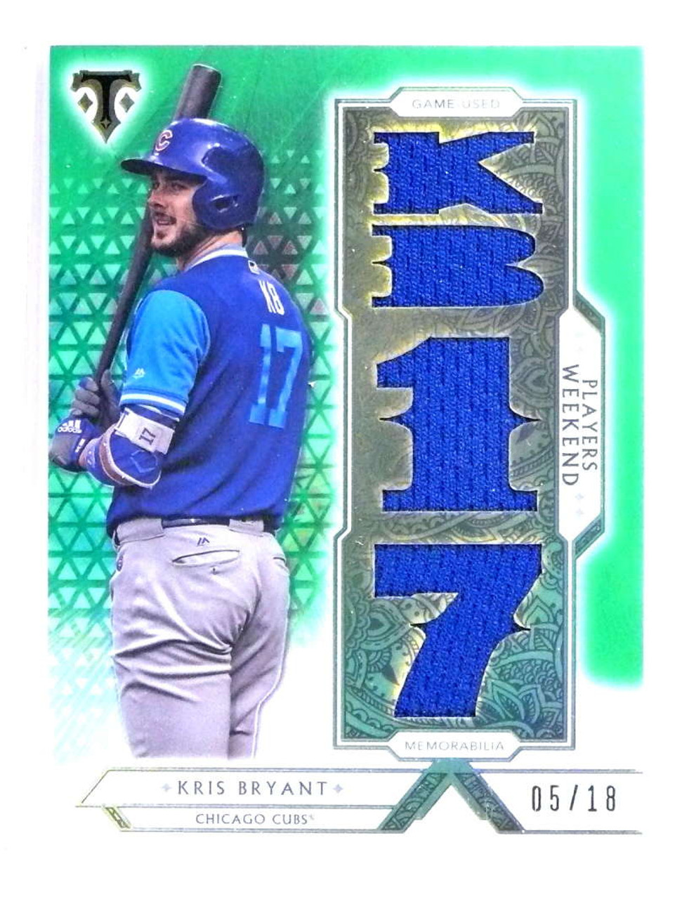 brand new eadab 46259 SOLD 20985 2018 Topps Triple Threads Kris Bryant Players Weekend Jersey  Emerald #D/18 *74075