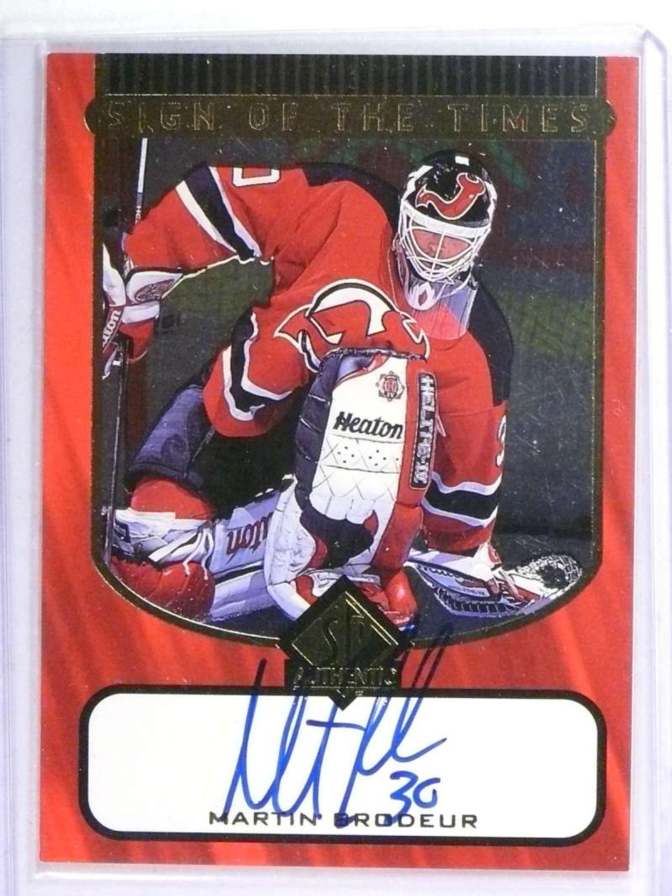 1997 98 Sp Authentic Sign Of The Times Martin Brodeur Autograph Auto