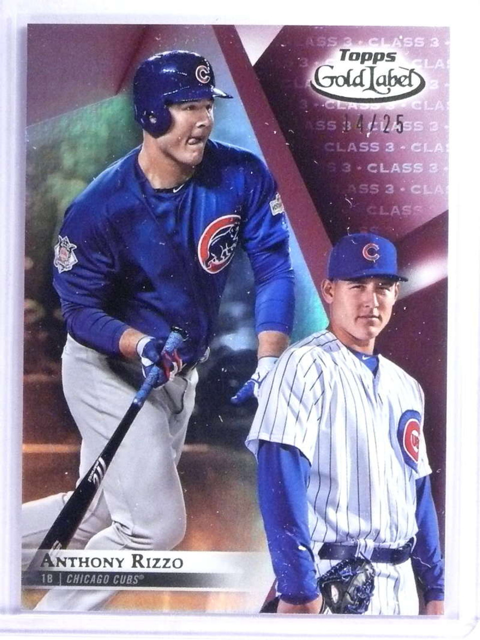 2018 Topps Gold Label Anthony Rizzo Class 3 D1425 Chicago Cubs 75077
