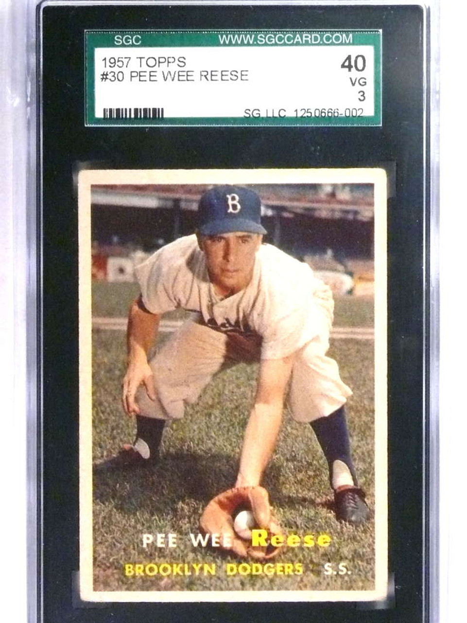 Sold 22342 1957 Topps Pee Wee Reese 30 Sgc 40 3 Vg Dodgers 75125