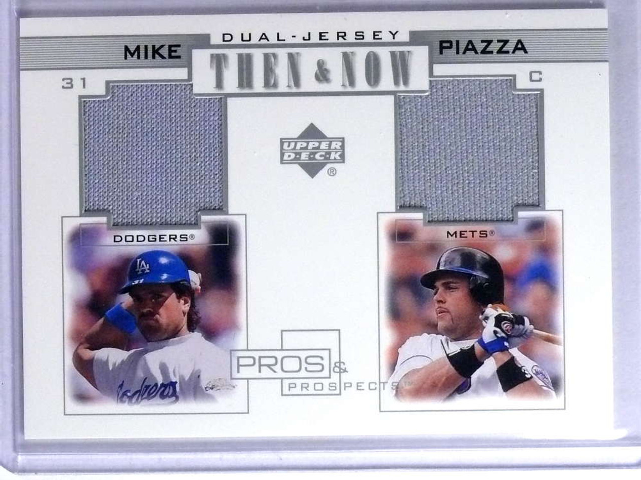 2001 Upper Deck Pros Prospects Then Now Mike Piazza Dual Jersey Tnmp 75723