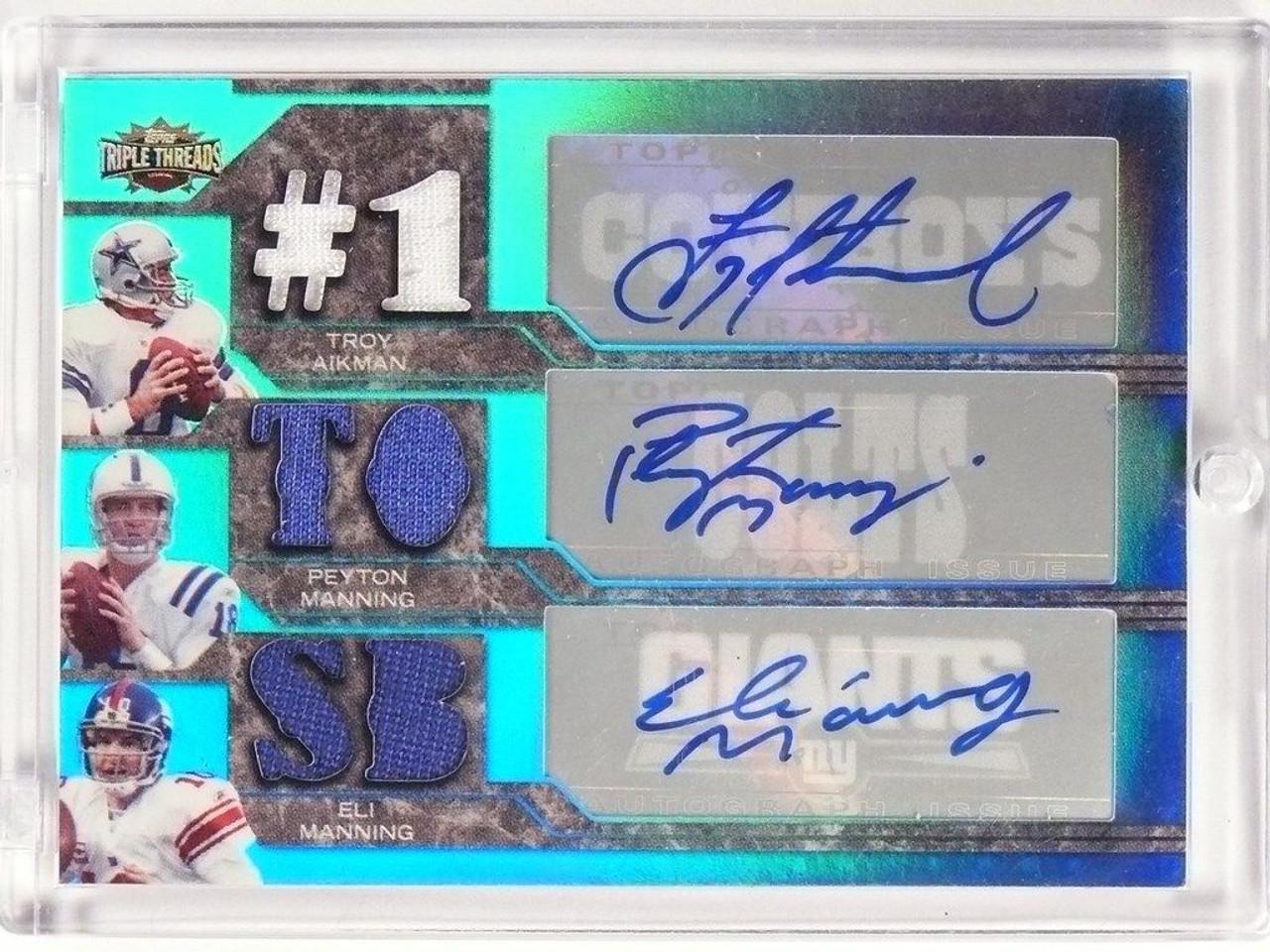 2008 Triple Threads Aikman Peyton Eli Manning Autograph Jersey D1 2 49984