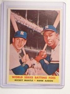 1958 Topps  Batting FoesMickey Mantle & Hank Aaron #418 VG-EX *45029