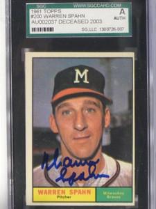 1961 Topps Warren Spahn #200 auto autograph SGC Authentic *37642