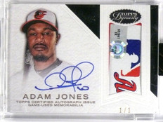 2016 Topps Dynasty Adam Jones Black autograph auto MLB tag logo patch #D1/1 *638