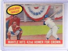 1959 Topps Baseball Thrills Mickey Mantle #461 VG-EX *68673