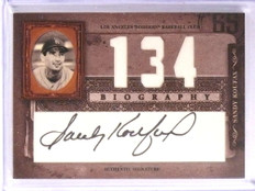 2005 Donruss Playoff Biography Wins Sandy Koufax autograph auto  *70960