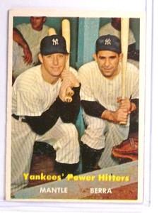 1957 Topps Yankees' Power Hitters Mickey Mantle & Yogi Berra #407 VG *71000