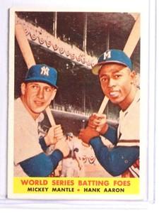 1958 Topps Batting Foes Mickey Mantle Hank Aaron #418 VGEX *71033